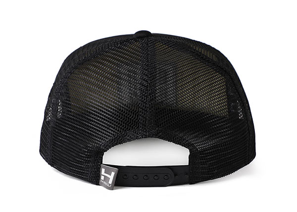 Back of Black Mesh Back Snapback Hat