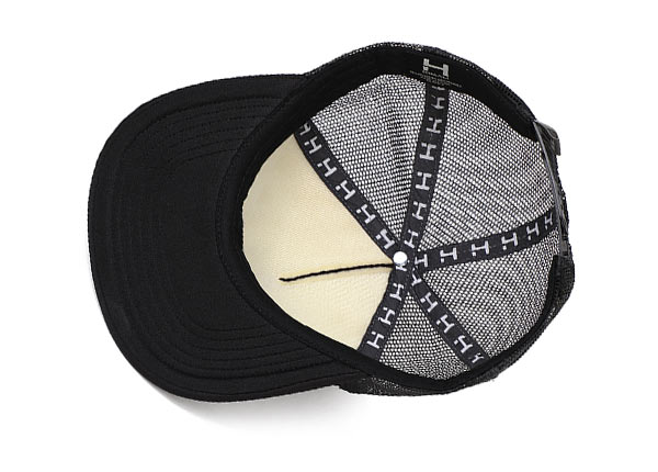 Inside of Black Mesh Back Snapback Hat