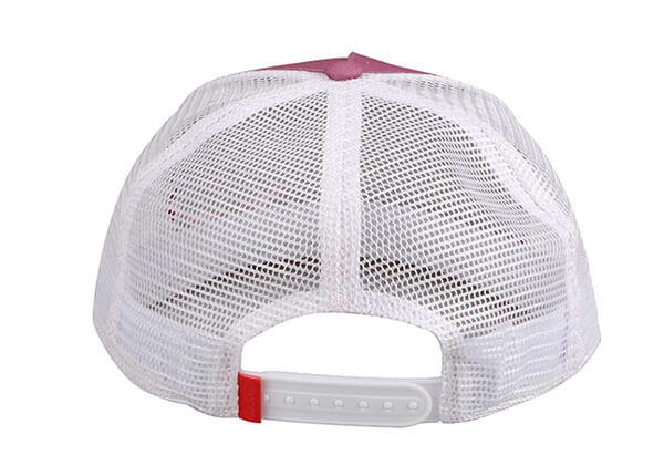 Back of Wine Red Blank 2 Tone Mesh Fitted Hat