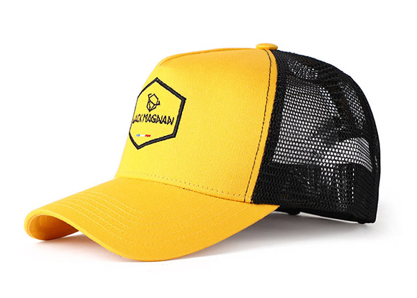 Sports Mesh Hats 2D Embroidered Yellow Baseball Cap with Black Mesh Back