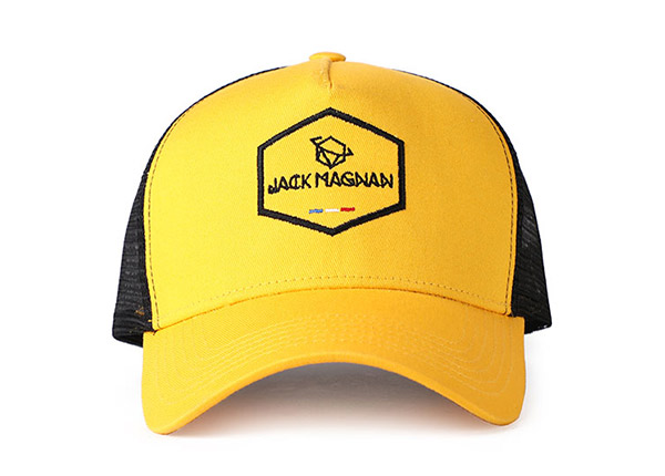 Front of 2D Embroidered Yellow Baseball Cap with Black Mesh Back