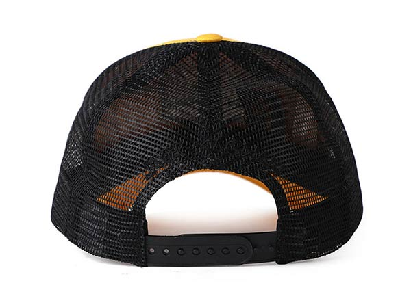 Back of 2D Embroidered Yellow Baseball Cap with Black Mesh Back