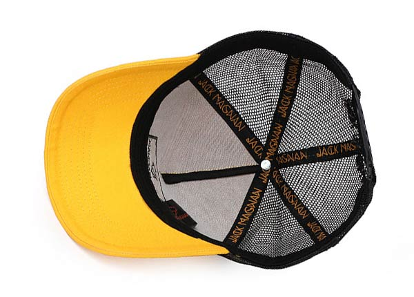 Inside of 2D Embroidered Yellow Baseball Cap with Black Mesh Back