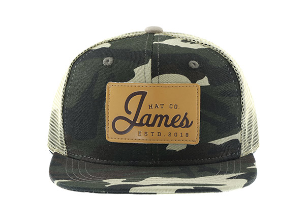 Mesh Military Cap With Leather Brim & Leather Patch Logo