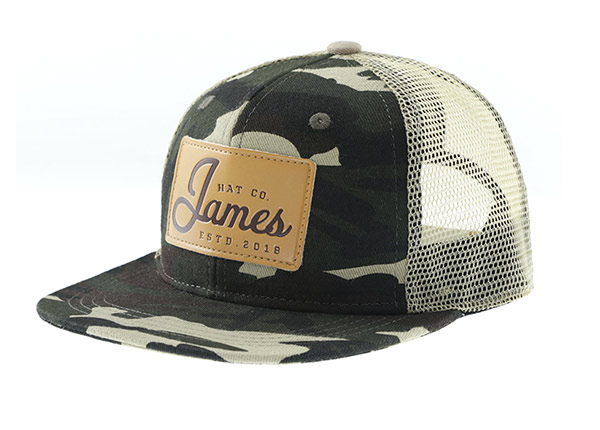 Slant of Mesh Military Cap With Leather Brim