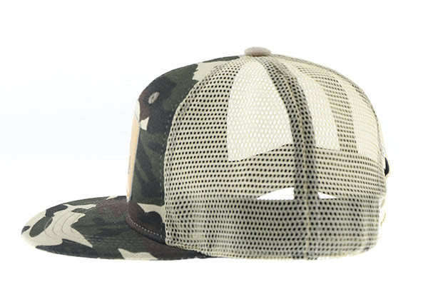 Side of Mesh Military Cap With Leather Brim