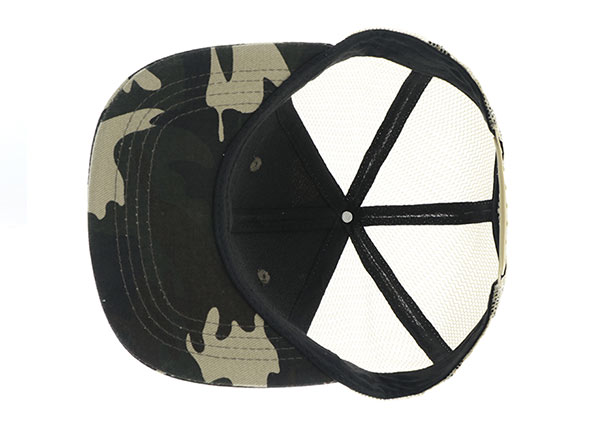 Inside of Mesh Military Cap With Leather Brim