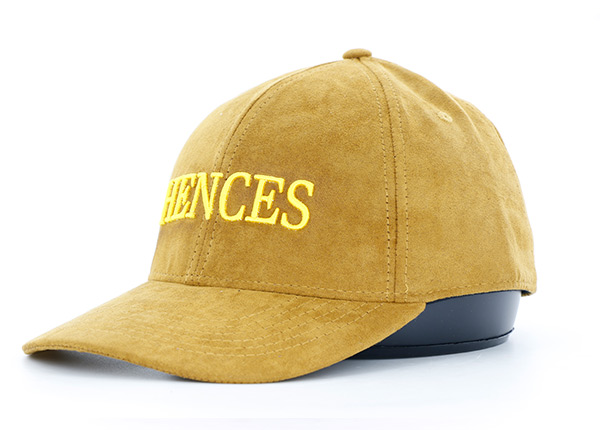 Slant of Womens Gold Faux Suede Hat