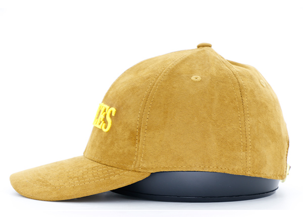 Side of Womens Gold Faux Suede Hat