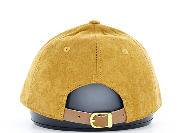 Back of Womens Gold Faux Suede Hat