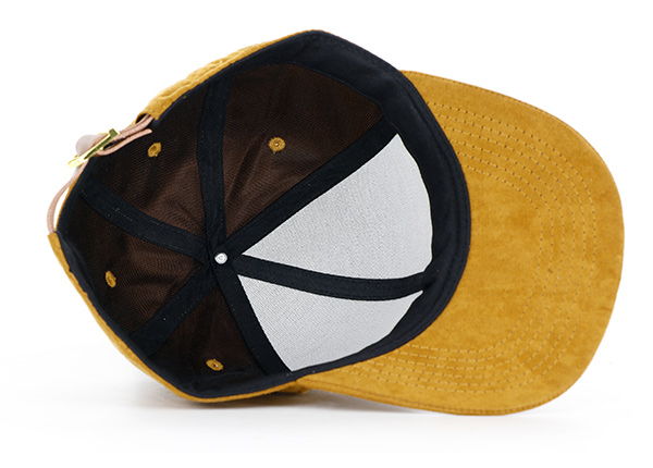 Inside of Womens Gold Faux Suede Hat
