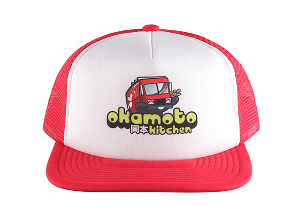 Front of Custom Red Trucker Hat with White Printed Foam Front
