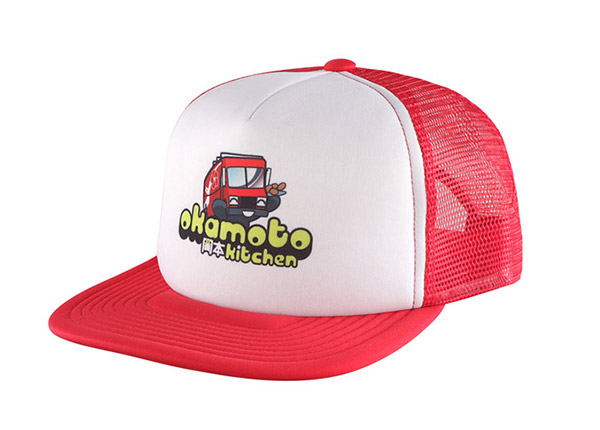 Slant of Custom Red Trucker Hat with White Printed Foam Front