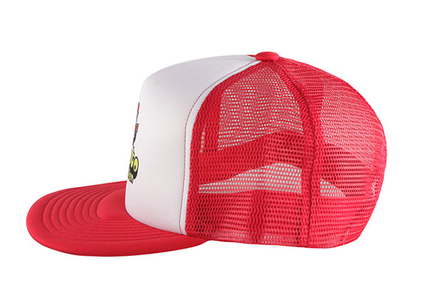 Side of Custom Red Trucker Hat with White Printed Foam Front