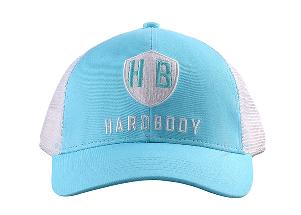 Front of Teal Green Dad Trucker Hat with Grey Mesh Back
