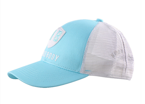 Slant of Teal Green Dad Trucker Hat with Grey Mesh Back