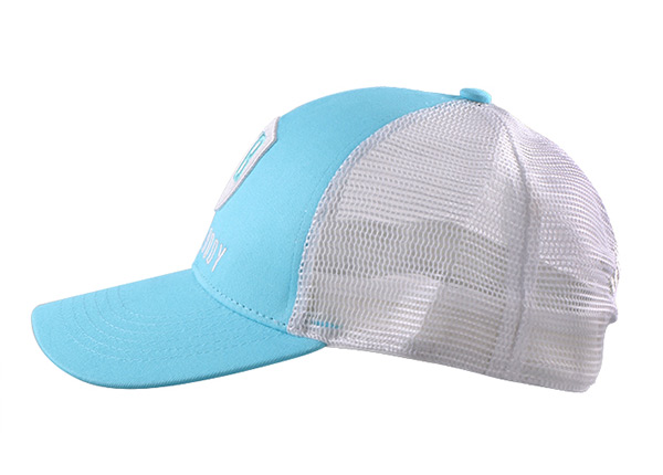 Side of Teal Green Dad Trucker Hat with Grey Mesh Back