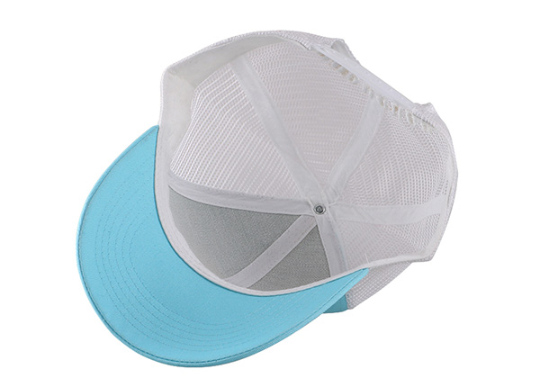 Inside of Teal Green Dad Trucker Hat with Grey Mesh Back