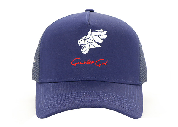 Front of Navy Five Panel Trucker Hat with Embroidered Logo