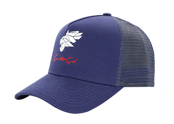 Slant of Navy Five Panel Trucker Hat with Embroidered Logo