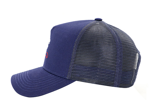 Side of Navy Five Panel Trucker Hat with Embroidered Logo