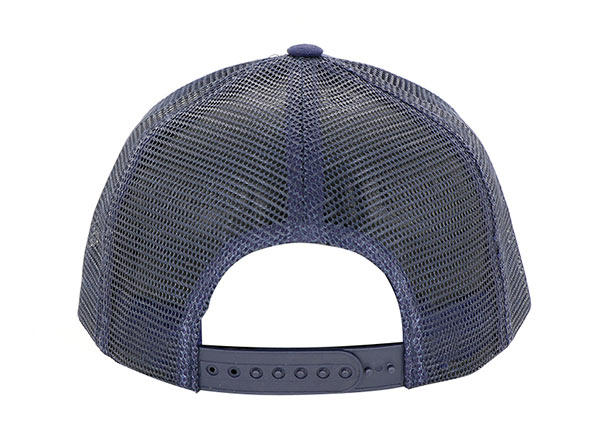 Back of Navy Five Panel Trucker Hat with Embroidered Logo