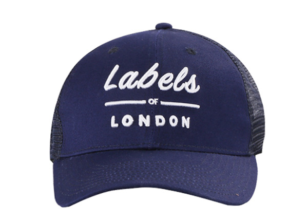 Front of Navy Blue Trucker Cap with White Embroidered Logo