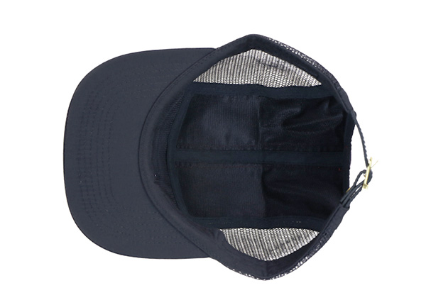 Inside of Black 5 Panel Trucker Hat with Patch Logo