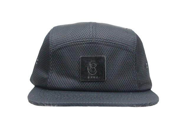 Front of Custom All Black 5 Panel Hat with Strapback