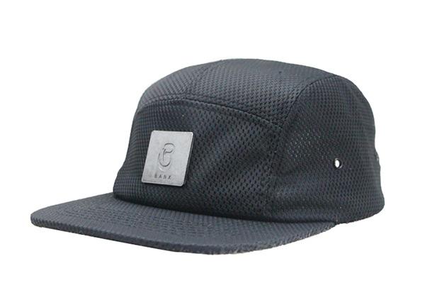 Slant of Custom All Black 5 Panel Hat with Strapback
