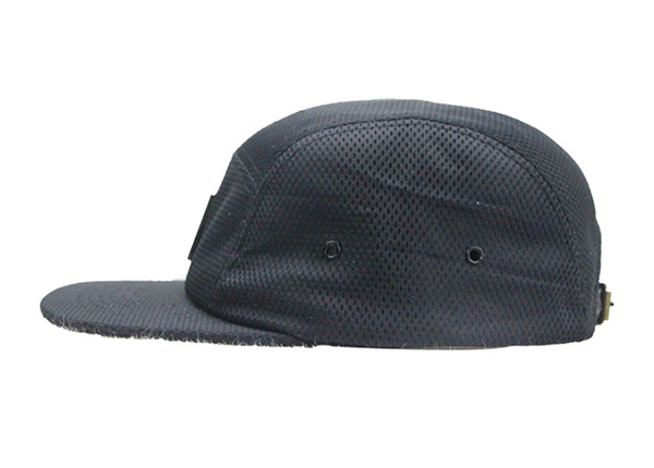 Side of Custom All Black 5 Panel Hat with Strapback