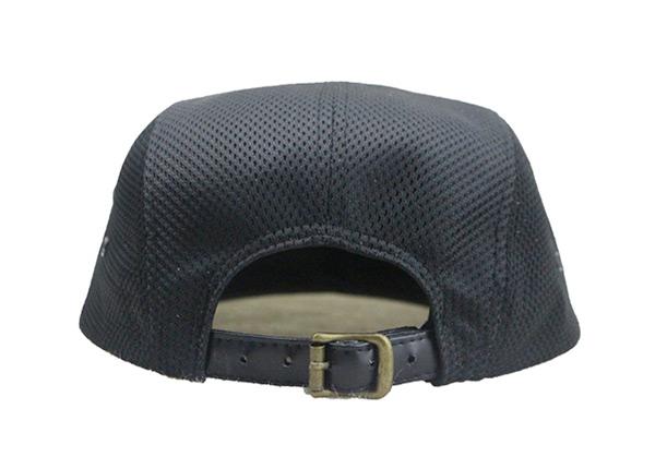 Back of Custom All Black 5 Panel Hat with Strapback