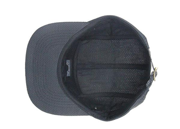 Inside of Custom All Black 5 Panel Hat with Strapback