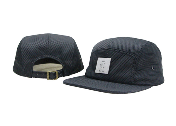 Overview of Custom All Black 5 Panel Hat with Strapback