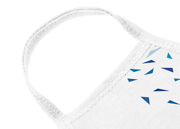 Earloop of Custom White Cotton Face Mask with Blue Triangle