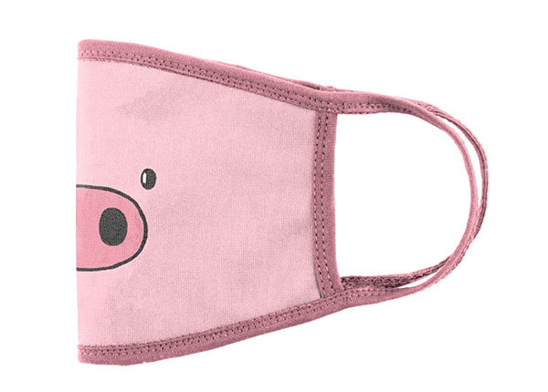 Side of Reusable Cotton Pink Pig Cartoon Pattern Face Mask