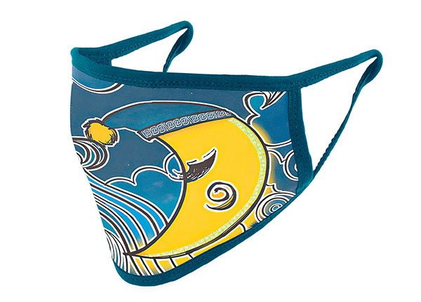 Slant of Washable Navy Cotton Face Mask with Yellow Moon Pattern