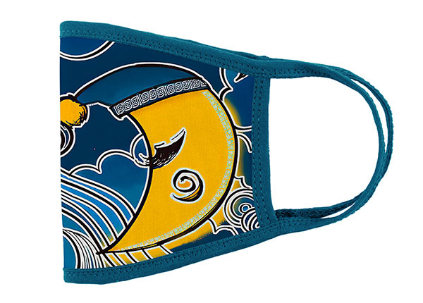 Side of Washable Navy Cotton Face Mask with Yellow Moon Pattern