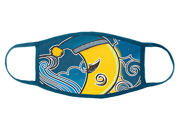 Front of Washable Navy Cotton Face Mask with Yellow Moon Pattern