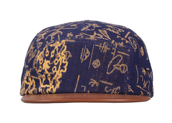 Front of Navy Vintage Style 5 Panel Hat with Brown Leather Brim