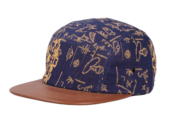 Slant of Navy Vintage Style 5 Panel Hat with Brown Leather Brim