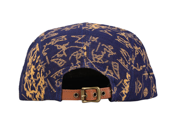 Back of Navy Vintage Style 5 Panel Hat with Brown Leather Brim