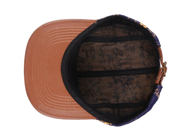 Inside of Navy Vintage Style 5 Panel Hat with Brown Leather Brim