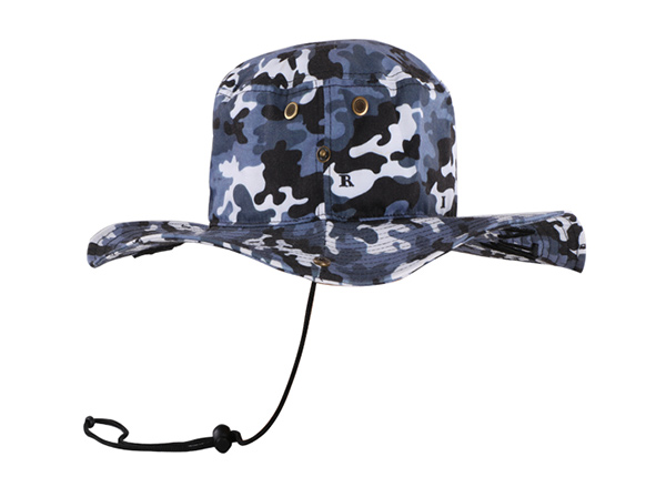 Side of Camo Bucket Sun Hat with Wide Brim