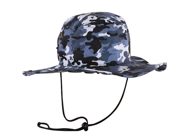 Front of Camo Bucket Sun Hat with Wide Brim