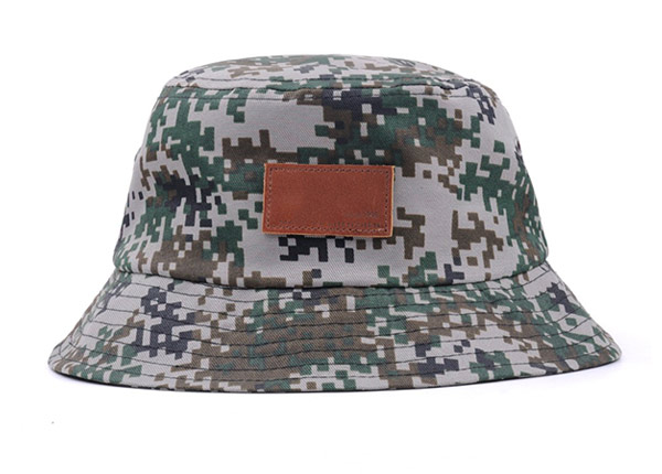 Front of Army Green Camo Bucket Hat with Wide Brim and a Leather Label