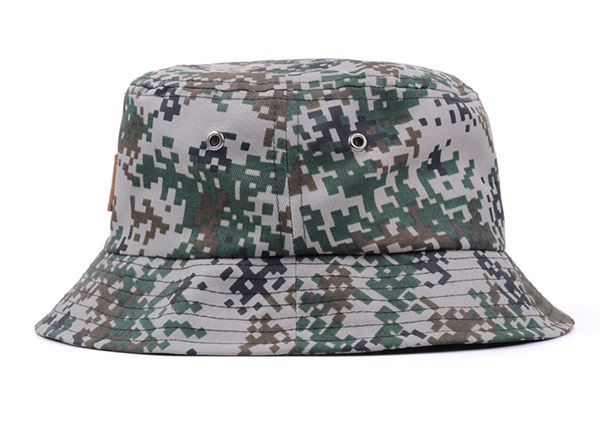 Side of Army Green Camo Bucket Hat with Wide Brim and a Leather Label