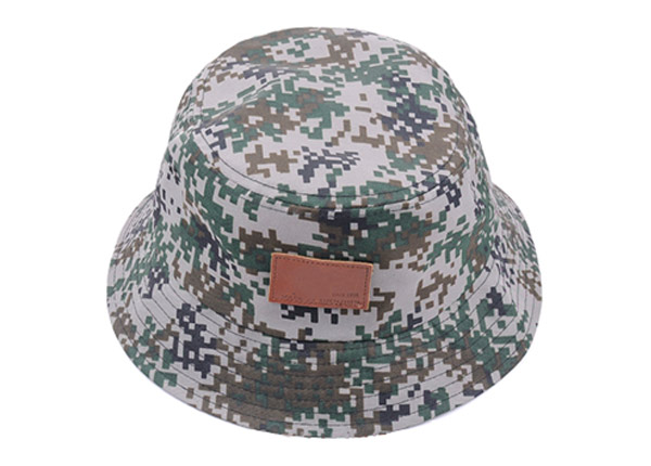 Slant of Army Green Camo Bucket Hat with Wide Brim and a Leather Label
