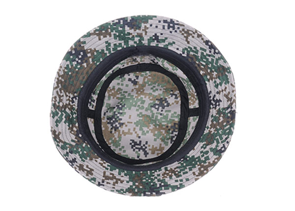 Inside of Army Green Camo Bucket Hat with Wide Brim and a Leather Label
