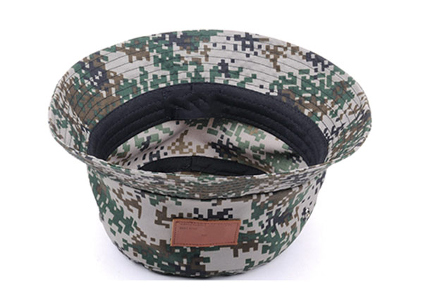 Inverted of Army Green Camo Bucket Hat with Wide Brim and a Leather Label